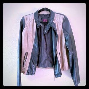 Super Stylish Black & Tan Moto Style Jacket